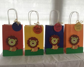 Lion Favor bag, kids birthday bag, party loot bag, baby shower favor bag,circus lion bags,1st birthday favor bags, zoo animal bag