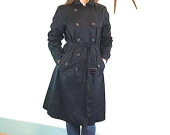 SALE 50% OFF Vintage 90s Black Trench Coat by Banana Republic Long Ladies Rain Jacket Belt Buckle Flap Belted Women's s Overcoats