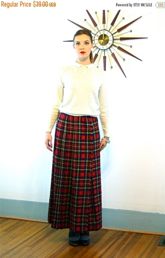 SALE 50% OFF Vintage 60s St. Michael UK Plaid Wool Skirt High Waisted Wrap Red Black Green Pleated Tartan Frayed Edge Long 1960s Skirt Size
