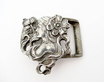 Art Nouveau Belt Buckle, Figural Woman Pewter Belt Buckle by Synek, Lady with Flowing Hair