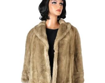 ON SALE Faux Mink Fur Cape OS Honey Blonde Light Brown Tissavel Short Cloak Sz S M L Xl Free Us Shipping