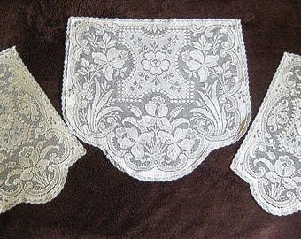 Vintage Runner Tablecloth Doily Crochet Needle Lace Victorian Ivory White Flowers Beveled Set 3