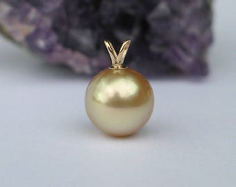 14k Gold Pearl Pendant | Golden South Sea Pearl | 14k Solid Gold Rabbit Bail | Gold Filled Chain Necklace | Birthday Gift | Ready to Ship