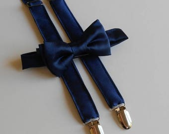 SALE Navy Satin Bowtie and Suspenders Set - Infant, Toddler, Boy                             2 weeks before shipping