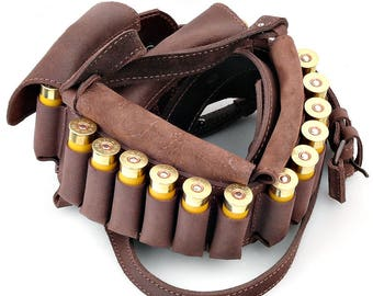 Shotgun Shell Bandolier 24 Cartridge Belt Hunting Rifle Bandoleer 12 or 16 Ga HANDMADE New Genuine Brown Leather