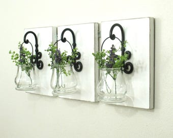 NEW. Unique Hanging Glass Jars on Painted Wood Boards..Chic Farmhouse Wall Decor..Garden Flower Pots.Large Wood Sconce..Ready to Ship