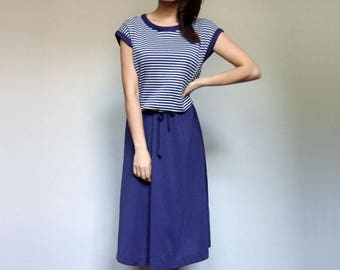 Vintage Striped Dress Women 70s Nautical Blue White Summer Dress Casual Sundress - Medium to Large M L