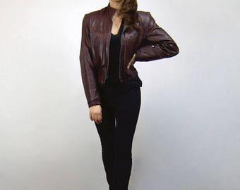 Burgundy Leather Jacket Woman 80s Vintage Motorcycle Bomber Jacket - Medium M