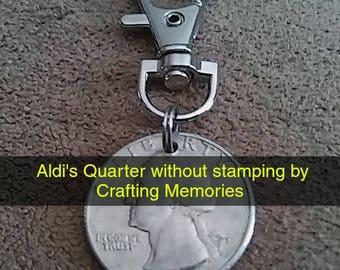 Aldi Quarter Key Chain, Shopping Cart Coin, Aldi's Quarter, Shopping Coin, quarter keeper, keychain, cart quarter