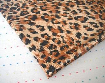 Brown, Black and Tan Leopard Print Satin Lining Fabric, Sample Size Fabric (Fat Quarter - 18 x 30)