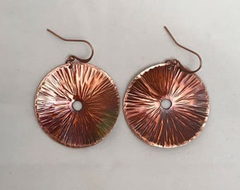Handcrafted Heated Copper Disc Earrings