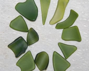 Green Faux Sea Glass undrilled lot - 12 pieces