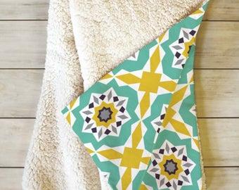 Moroccan Geometric Fleece Sherpa Throw Blanket // Modern Home Decor // Dorm Decor // Mattonelle Design // Yellow // Cozy Blanket // Aqua