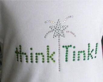 SALE 7.5 inch wide Think TINK iron on hot fix rhinestone Disney Tinkerbell transfer