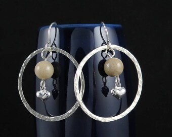 Sterling silver hoop earrings with Petoskey stones and hearts E2467