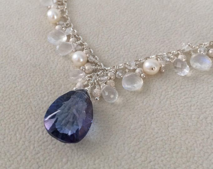 Semiprecious Gemstone Bridal Necklace in Sterling Silver,  Freshwater Pearls, Rainbow Moonstone, Mystic Tanzanite Blue Quartz, Rock Cryst