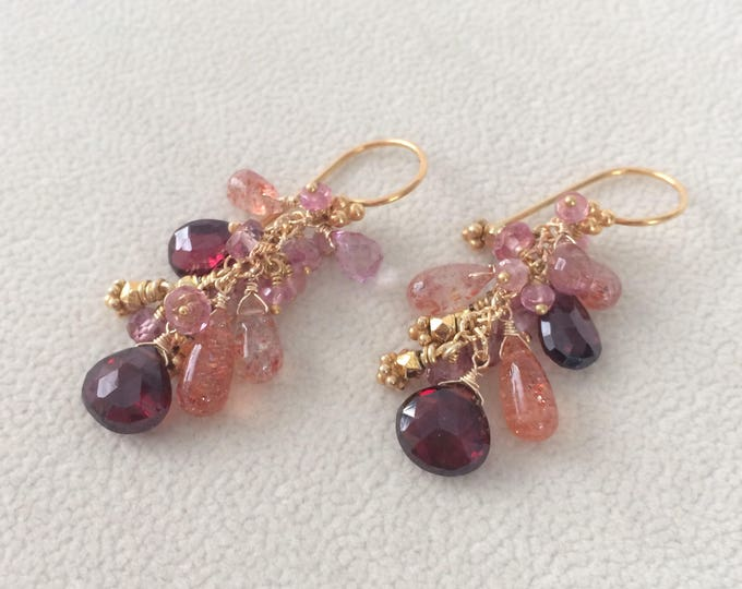 Semiprecious Gemstone Earrings in Gold Vermeil with Garnet, African Sunstone, Mystic Pink Quartz and Mystic Pink Topaz