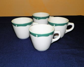 Syracuse China Restaurant Everglade, Green Wave, Sets of 4 Cups, 4 Pieces