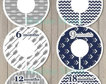 HUGE SALE 6 PRECUT Baby Closet Dividers Baby Shower Gift Arrow Chevron Tribal Nursery Decor Clothing Baby Clothes  Navy Gray Stocking Stuffe