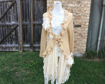 Altered Women's Tan Lightweight Mohair Mix Ruffled Sweater, Ruffled Lace Skirt, Magnolia Pearl Style-Medium,Shabby Chic,Flower Embellished