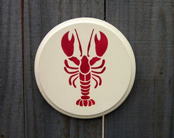 Lobster Sign, Seafood Sign, Kitchen Sign, Nautical Decor, Red Lobster, Round Sign, Painted Wood, Ivory, Red, Kitchen Wall Art
