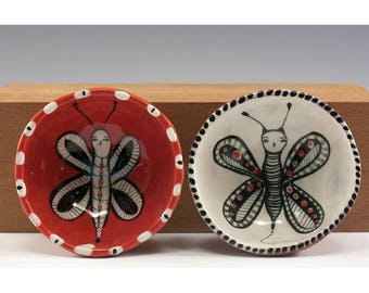 Small Bowl Set - Sweet Ceramic Bowl Set - Red and White Two Piece - Butterflies - by Jenny Mendes