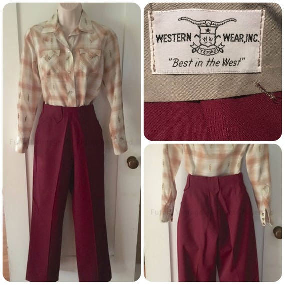 1950s WESTERN WEAR Womens High Waist Burgundy Gabardine Pants with Arrow Belt Loops - XS