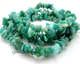 "Pretty! Amazonite Gemstone Chip Necklace, Crystal Healing Necklace, 34"" long necklace,"
