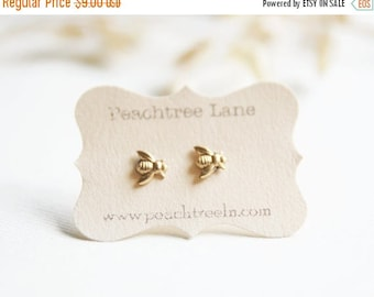 CHRISTMAS in JULY SALE Tiny Brass Bee Earrings >> Honeybee Post Earrings << Bridesmaid Gifts >> Bee Themed Wedding
