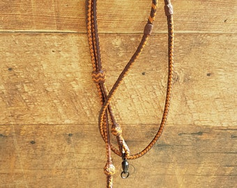 Braided Kangaroo Leather Field/Hunting Lanyard - Brandy/Saddle Tan