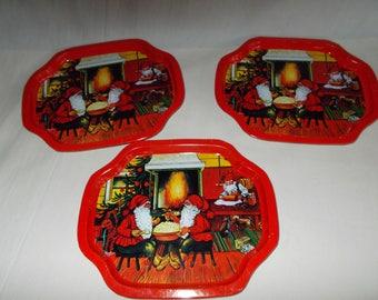 Vintage Small Metal Christmas Tip Trays