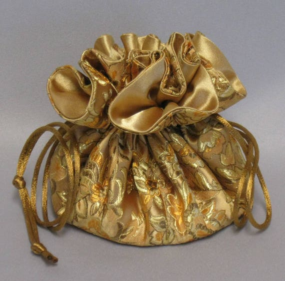 Jewelry DrawstringTravel Tote---Elegant Gold Floral Design---Satin Brocade Drawstring Organizer---Medium Size