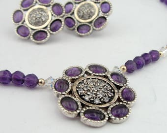 Amethyst Fine Jewelry Set, 925 Sterling silver set, 9K Yellow Jewelry Set, Flower, vintage jewelry, Free Shipping, Pendant, Earrings, Gift