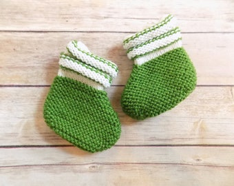 Knit Baby Booties, Green Baby Socks, Baby Boy Shoes, 6-12 Months