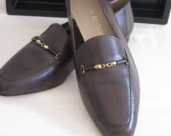 vintage 1980s Brown Leather Flat by Enzo Angiolini size 7 1/2M
