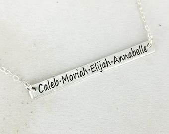 Personalized long bar name necklace - Kids name plate necklace - Layering necklace - Bar necklace - Engraved necklace - Name plate necklace