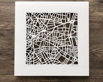 Madrid, Barcelona, or Dublin hand cut map ORIGINAL