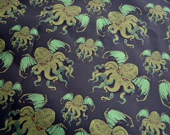 "Cotton Fabric - Evil Dragon Wing Octopus - By the Yard - 58"" Wide"