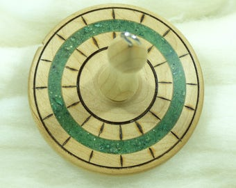 Llampetia Hand-Turned Maple / Fuchsite Drop Spindle- Top Whorl 55 Grams