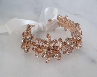 Rose Gold Rhinestone Bridal Cuff,Wedding Accessories, Bracelet,Crystal Bridal Bracelet,#B54