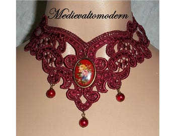Choker in Deep Red Flower Cameo Lace Victorian Venise Necklace Collar