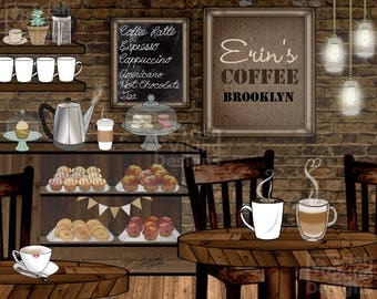 personalized coffee cafe, coffee shop, coffeehouse, art print, home decor, latte, espresso, barista gift, coffee kitchen, housewarming gift