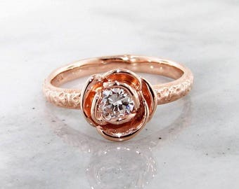 Signature Rose Solitaire- Rose Gold Rosebud with Third Carat Diamond