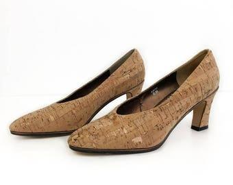 Vintage Cork Wooden Pointy Heels Size 6