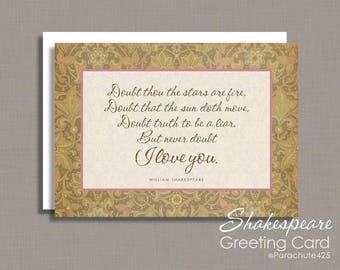 Valentine Card, romantic Valentine, Shakespeare Card, Anniversary Card, romantic anniversary, romantic birthday,  love quote, Hamlet quote
