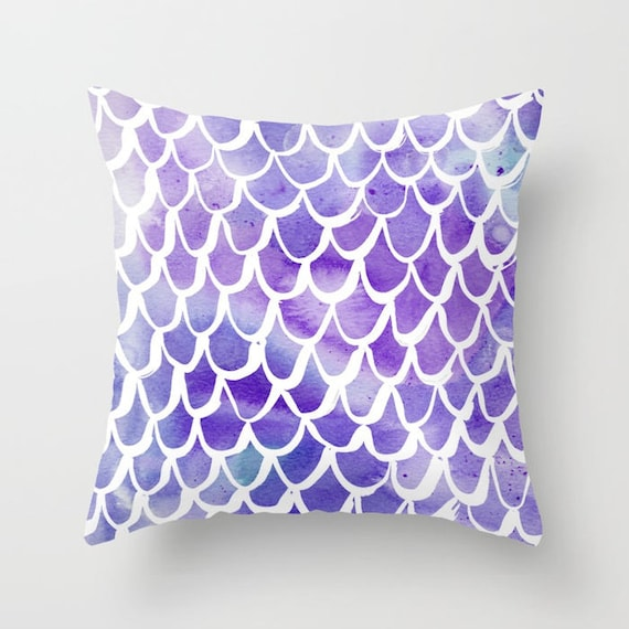 OUTDOOR Throw Pillow - Mermaid Outdoor Pillow - Watercolor Outdoor Pillow - Purple Patio Cushion - 16 18 20 inch - Blue Outside Pillow