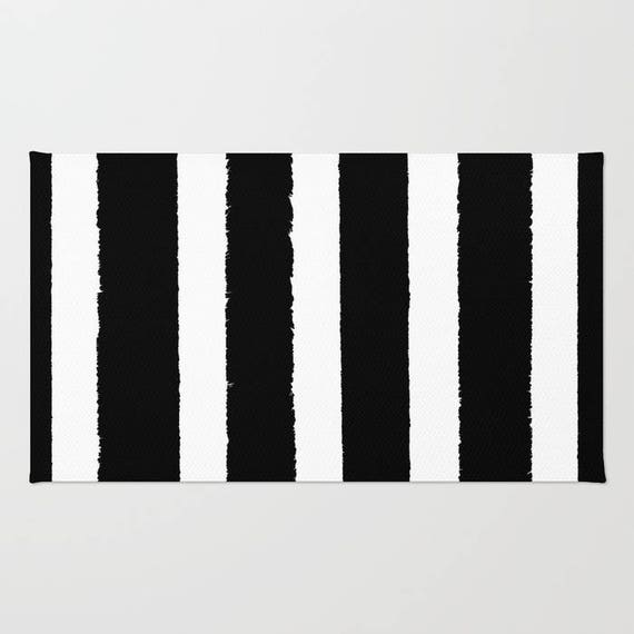 Black and White striped rug - Area Rug - Throw Rug - Carpet - Accent Rug - Floor Rug - Stripe Rug - 2 x 3 rug - 3 x 5 rug - 4 x 6 rug