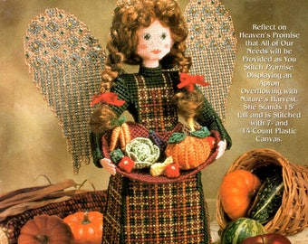 """Heavenly Messengers Promise Plastic Canvas 15"""" Doll Jeweled Wing Pumpkin Cabbage Carrots Needlepoint Embroidery Craft Pattern Leaflet 953310"""