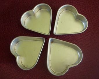 Set of 4 Individual Heart Jello Molds or Mini Cake Tins Made in Hong Kong