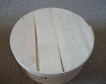 """15"""" Diameter Round Wooden Cheese Box for Storage or Crafting"""